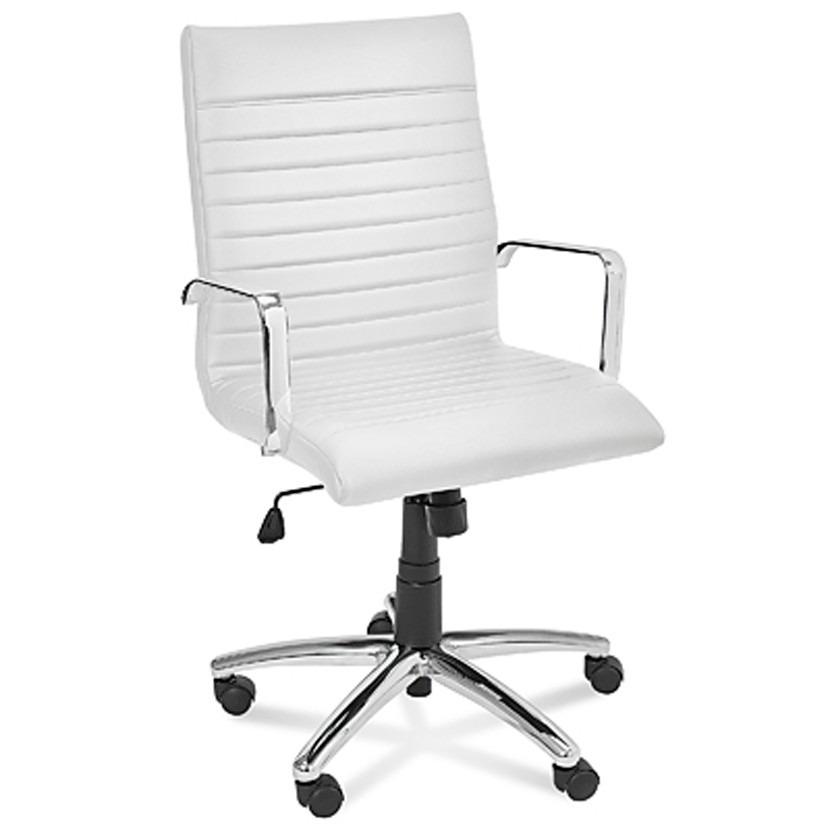 Silla ejecutiva moderna de piel bonded en color blanco for Sillas de oficina modernas