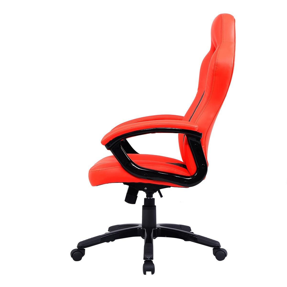Silla ejecutiva moderna para escritorio piel naranja for Sillas para escritorio