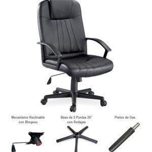 silla ejecutiva piel negra oficina ajustable envío gratis