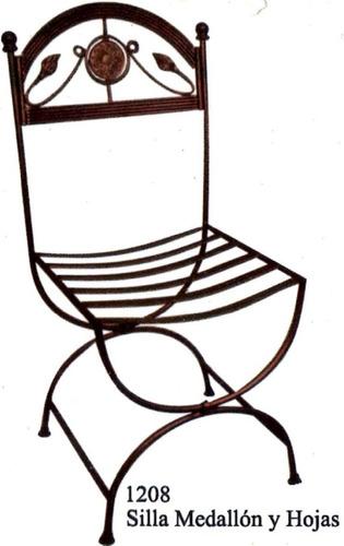 silla en hierro forjado modelo medallon y hojas