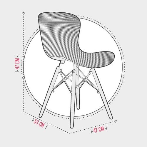silla en plástico (pp) y patas en madera- riviera blanca