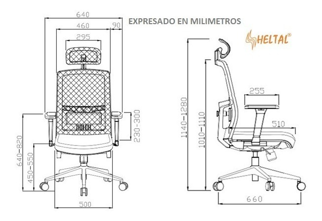 Silla Ergonomica Gerencial Malla 24 Heltal Gama Alta S 780 00