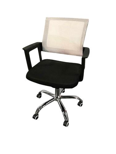 silla escritorio blanca y negra combinada excelente calidad