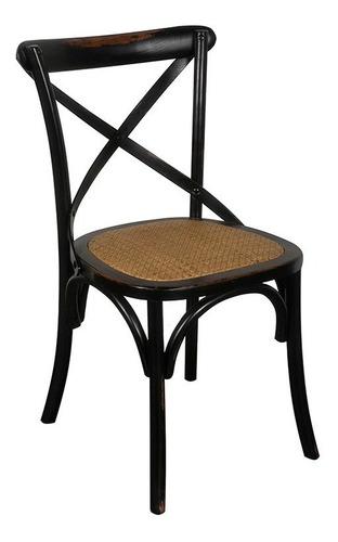 silla estilo thonet cruz cross blanco esterillado rattan