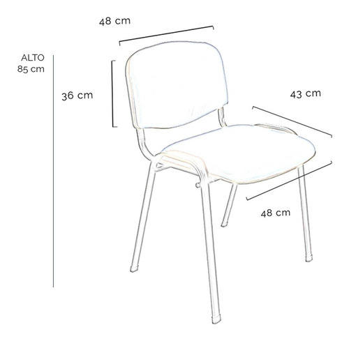 silla fija tapizada apilable garantia baires 4