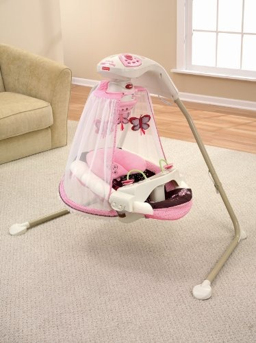 Silla fisher price mecedora columpio mariposa rosado for Silla antireflujo