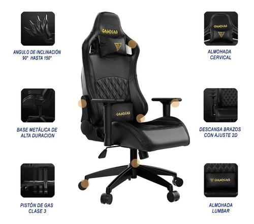 silla gamer gamdias aphrodite ef1 reclinable vinipiel negro