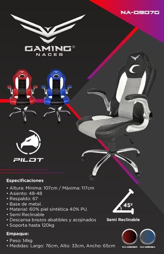 silla gamer naceb gaming reforzada 120kg ajustable pilot