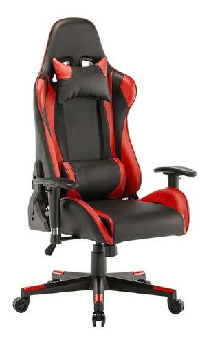silla gamer oficina escritorio ergonomica reclinable roja
