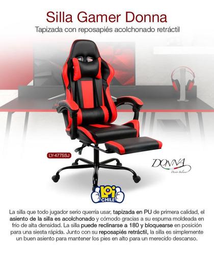 silla gamer pro donna suspensión reclinable 180° apoyapies