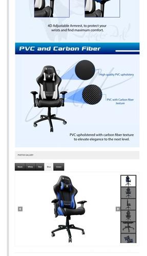 silla gaming antryx fibra de carbono 180 grados 4d signature