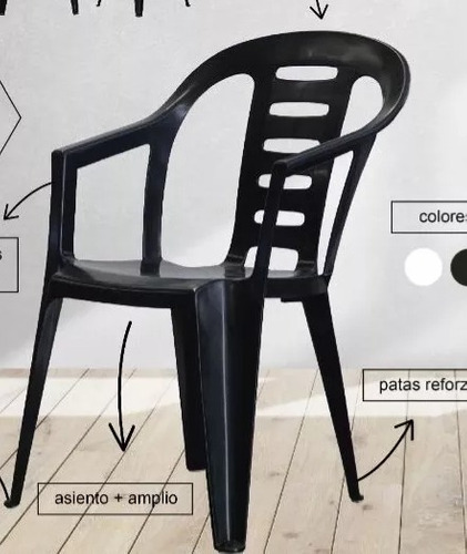 silla garden plastica negra apilable jardin fiestas kromo-s