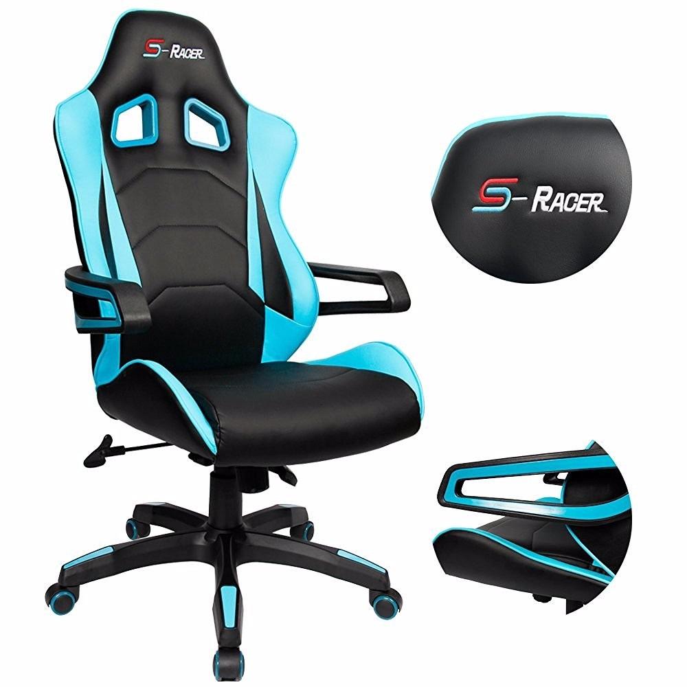 Silla giratoria ejecutiva de oficina gamer homall cuero for Muebles de oficina sillas giratorias