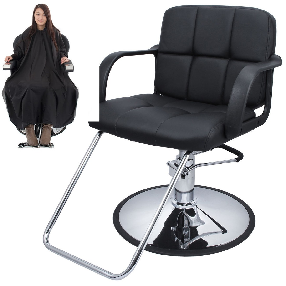 Silla giratoria hidraulica salon estetica barberia cabello for Sillas para barberia