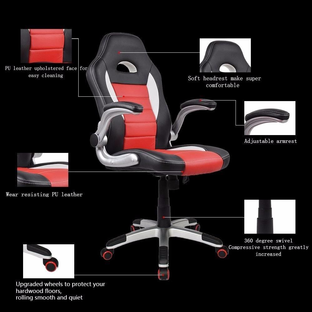 Silla giratoria oficina gamer homall rojo negro 4 199 for Precio de silla gamer