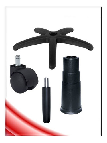silla kit 9 base secretarial, hidraulico, rueda pcnolimit