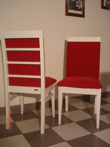 silla - laqueado blanco - tapizado chenille