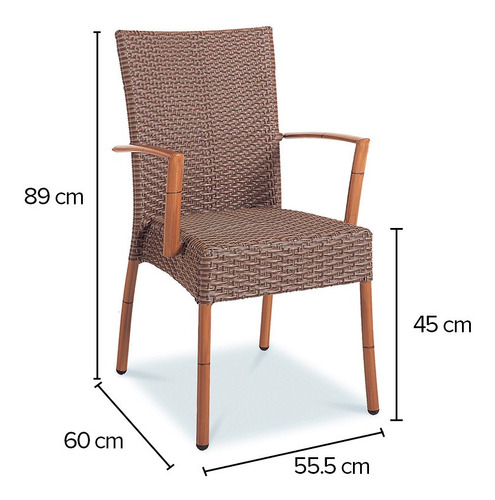 silla maui asiento y respaldo mimbre café con brazos durex