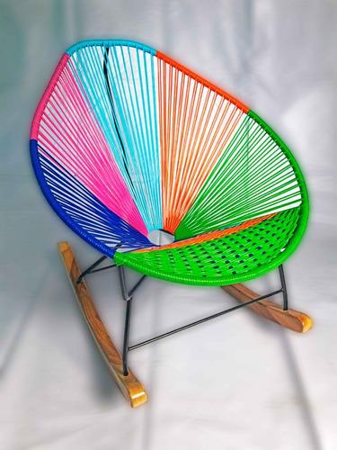 silla mecedora acapulco balanzas de madera y aciento tupido