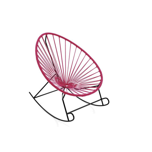 silla mecedora acapulco rosa mexicano con estructura metálic