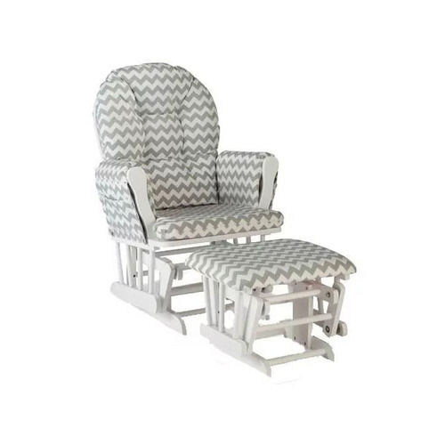 silla mecedora con descansapies storkcraft, blanco / gris