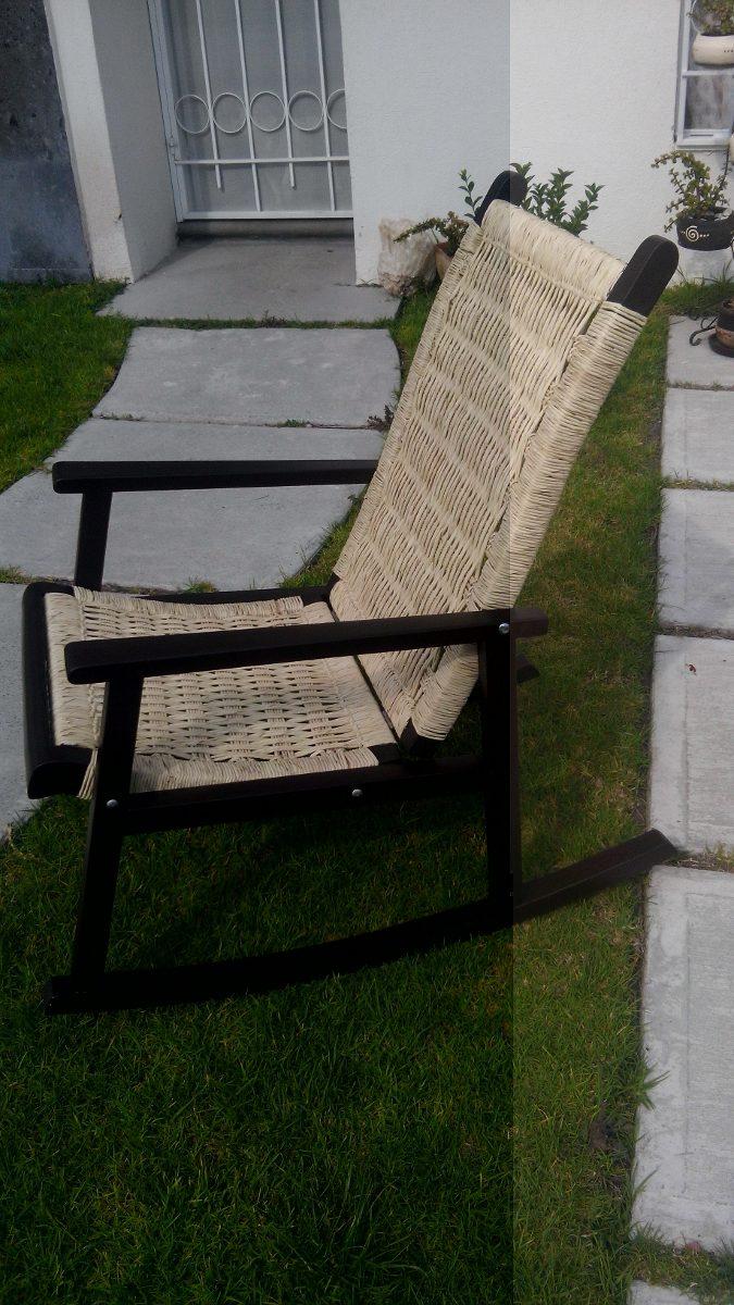 Silla mecedora de madera con tejido de palma 1 en mercado libre - Mecedora madera blanca ...