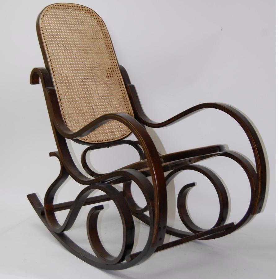 Silla mecedora de madera cuero y mimbre en - Restaurar sillas de madera ...