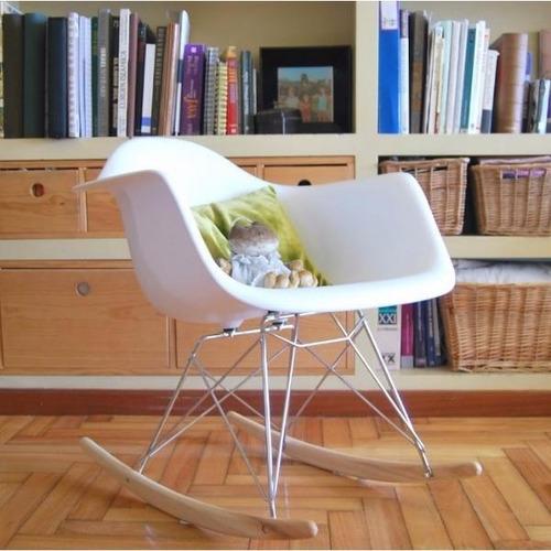 silla mecedora eames rocking diseño moderno base cromada