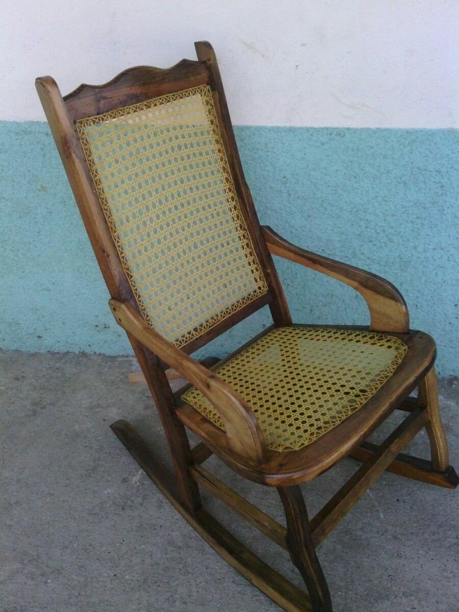 Silla mecedora tejida 100 pino madera envejecida bs 29 for Comprar sillas de madera