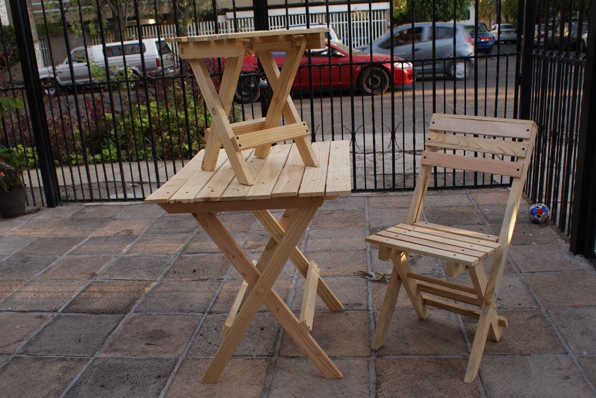 Silla mesa banco madera plegable en mercado for Mesa banco madera jardin