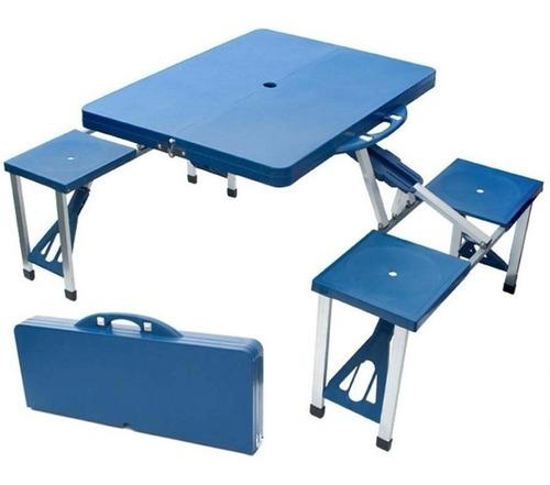 silla mesa plegable camping 4 asientos maletin aluminio