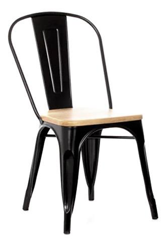 silla metálica tolix negra brillante con base de madera