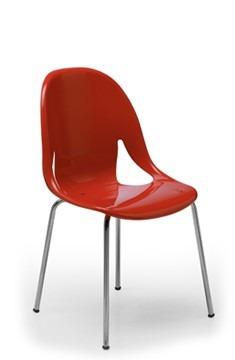 silla mod. nina  apilable  asiento brillante / base cromo po