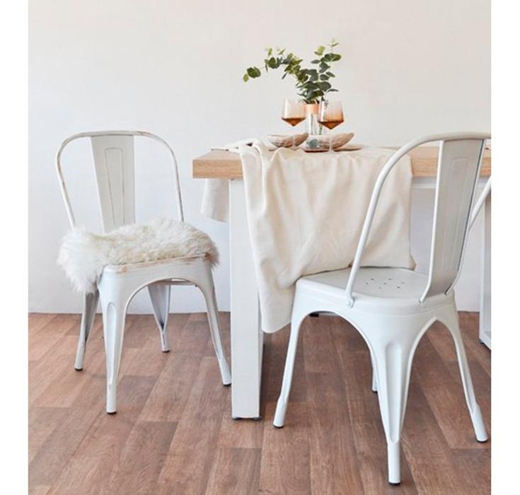 Silla Modelo Tolix Para Comedor Color Blanco Antiguo 6 Uni