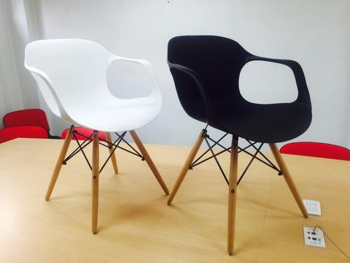 silla moderna en plástico (pp) y patas en madera- atlanta
