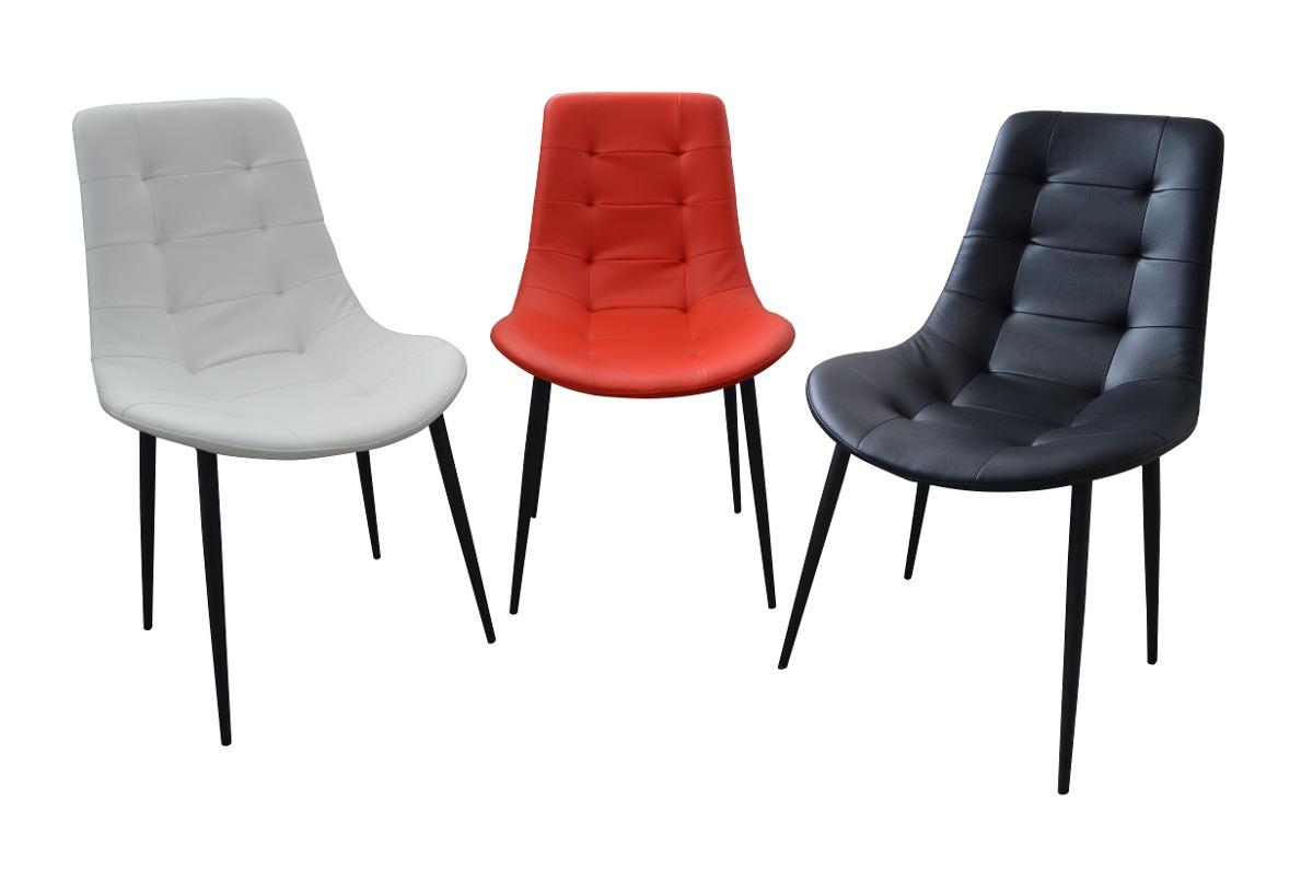 Silla moderna para comedor en eco cuero patas tubo for Imagenes de sillas para comedor