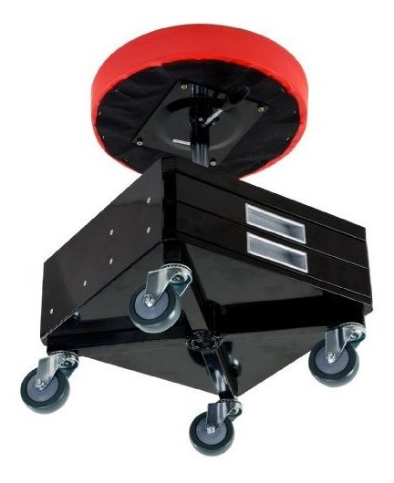 Pro-Lift C-3100 Grey Pneumatic Chair with Dual Tool Tray-300-Pound Capacity