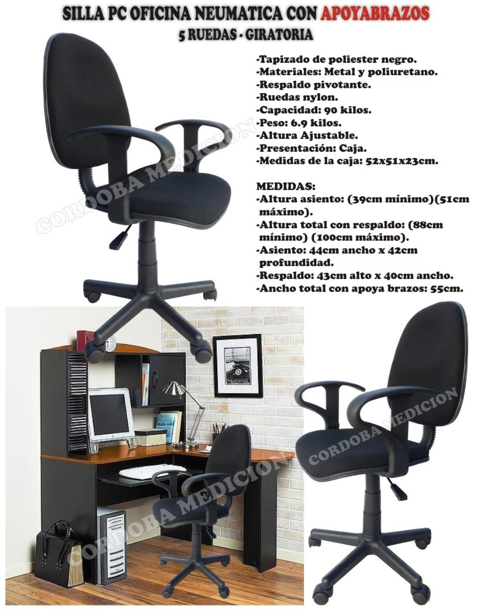 Silla Pc Oficina Neumatica Con Apoyabrazos - Escritorio - $ 2.165,00 ...