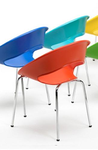 silla one fija base cromada colores hogar oficina kromo-s
