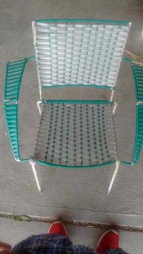 silla para descanso, de metal y encintada, tejido a mano