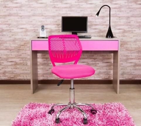 Silla para escritorio oficina juvenil rosada maya 159 for Sillas escritorio juvenil
