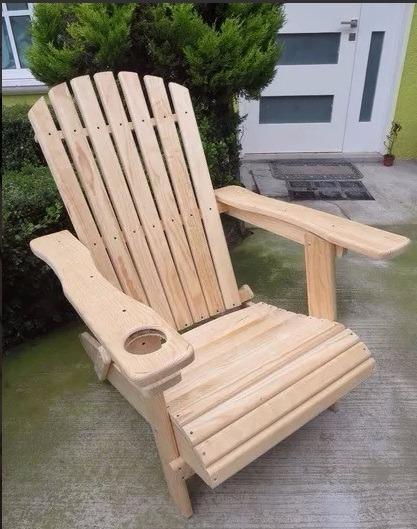 Silla para jardin o terraza adirondack en madera de pino for Mesas y sillas para terraza