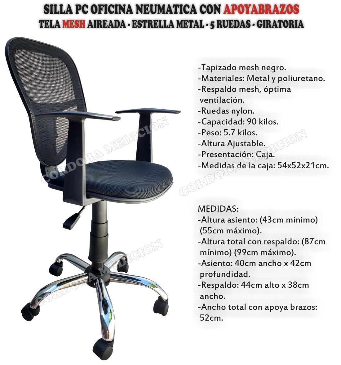 Metal Neumatica Con Oficina Apoyabrazos Base Pc Mesh Silla 9EIH2WD
