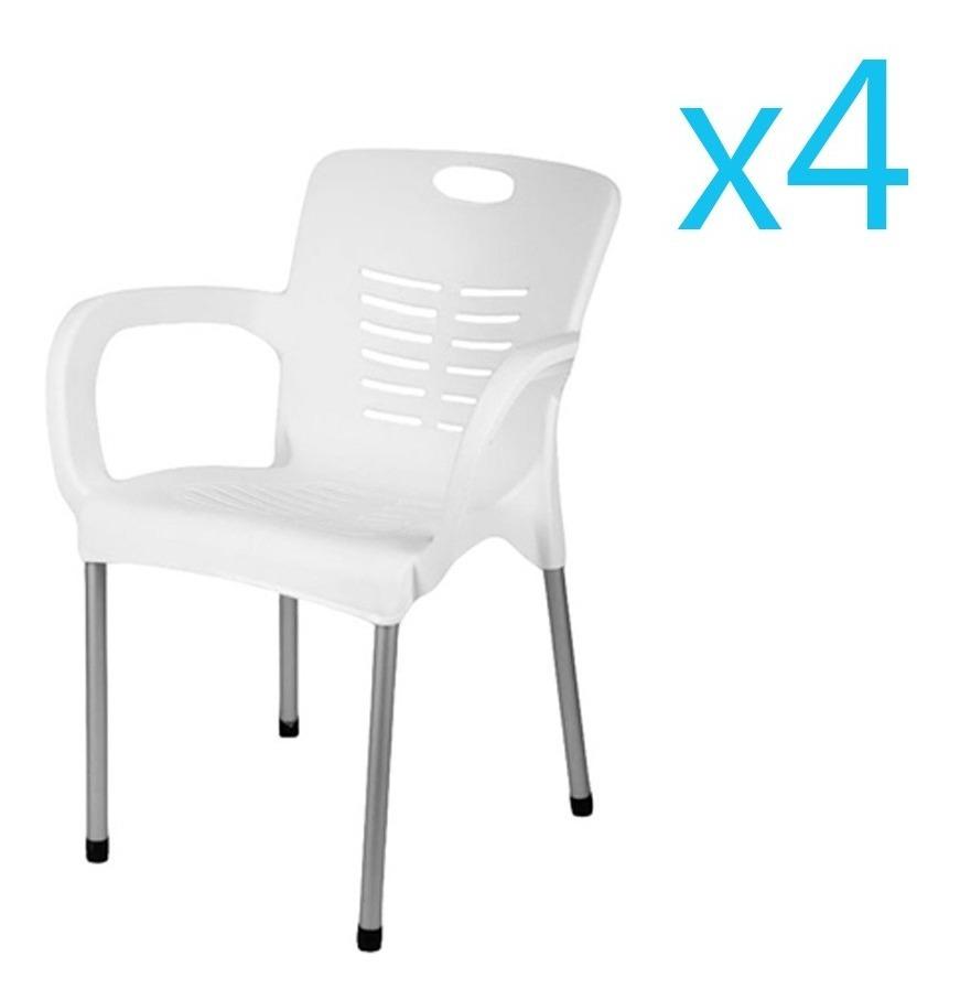 Silla Plástica Apilable Reforzada Set X4 Patas De Aluminio