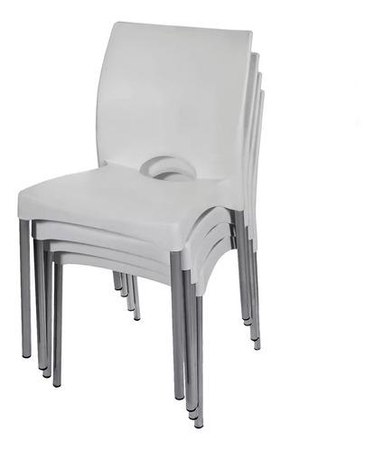 silla plastica garden life boston apilable blanca