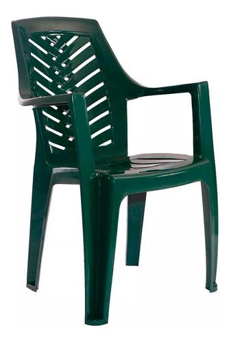 silla plastica garden life marbella con apoya brazos verde