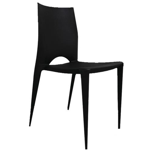 silla plástica maciza antideslizante reforzada negra