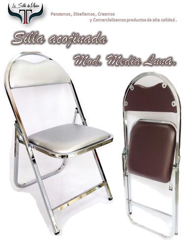 silla plegable acojinada banquetera media luna cromada de ca