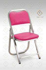 Fiesta Infantil Silla Cromo Rosa Acojinada Plegable Tapiz WEI2H9D