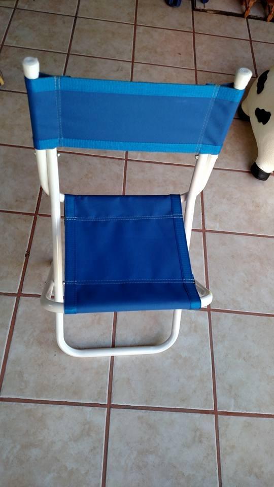 Silla Plegable De Lona Portatil Tubo Blanco Playa Jardin - Sillas-de-lona-plegables